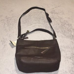 Lucky Brand Carmen Brown Pebble Leather Hobo Bag